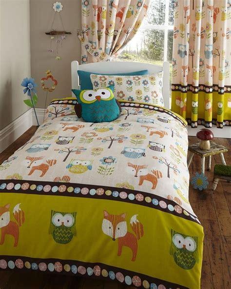 bedding sets for kids woodland creatures owls hoot fox kids single bed duvet