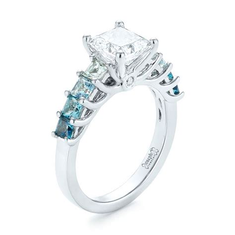 custom blue topaz and engagement ring 103407