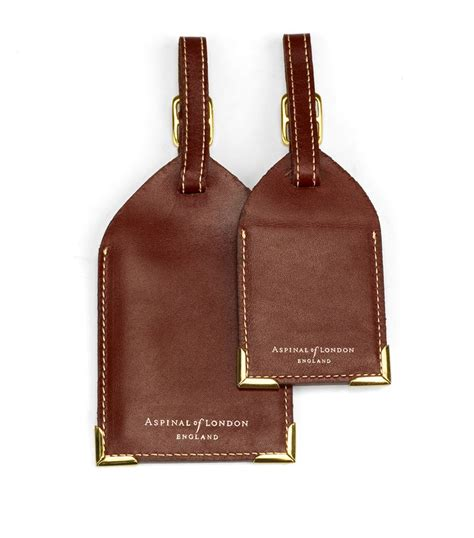 printable brown luggage tags aspinal leather luggage tags set of 2 in brown lyst