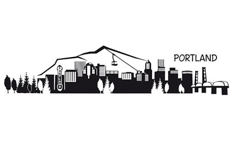 Red White And Blue Home Decor Portland Skyline Wall Decal Great Cityscape Vinyl Decor