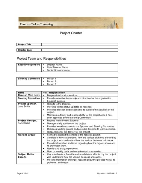 Project Charter Template Pmi by Pmi Project Charter Template Edit Fill Sign