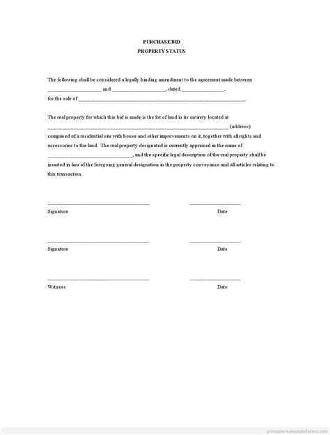 Offer Letter Amendment Sle Sle Printable Purchase Bid Property Status Form