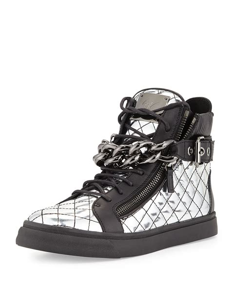 mens metallic sneakers giuseppe zanotti mens quilted metallic leather chain high