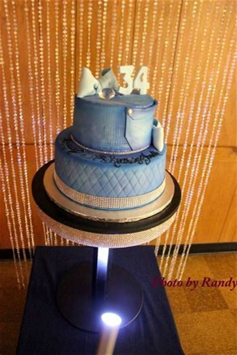 Denim And Diamond  Ee  Birthday Ee   Cake With Bling Backdrop