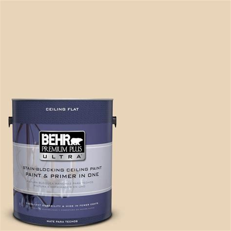 behr premium plus ultra 1 gal ppu7 18 ceiling tinted to sand pearl interior paint 555801 the