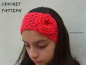 crochet headbands crocheted headband headwrap with flower by crochetingforgirls