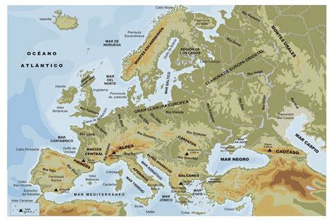 physical map europe paula s geography physical map of europe