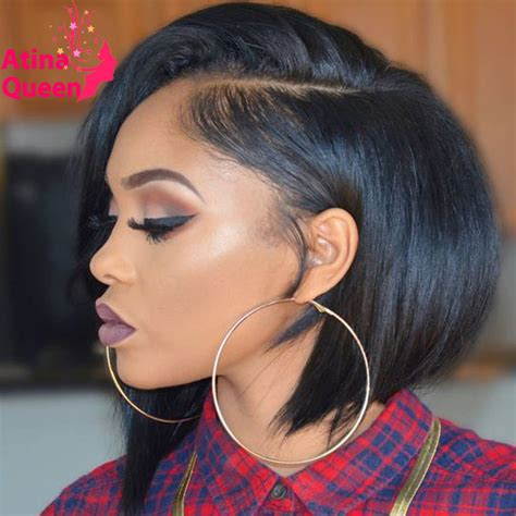 black hair styles for 2015 with one side shaved glueless human hair short wigs for black women african