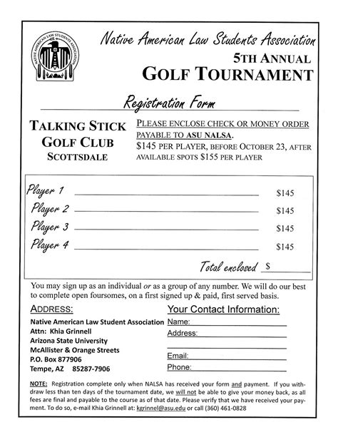 golf outing registration form template july 2010 indian program