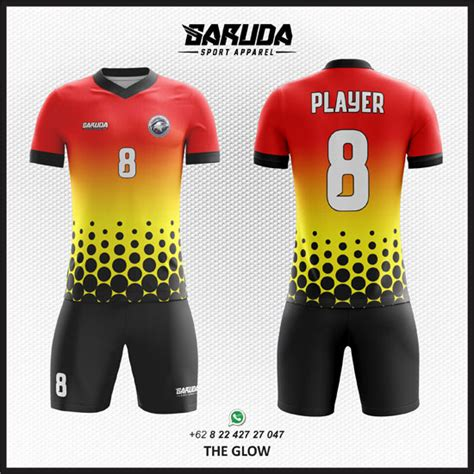 desain baju futsal warna merah desain kostum seragam futsal printing the glow garuda