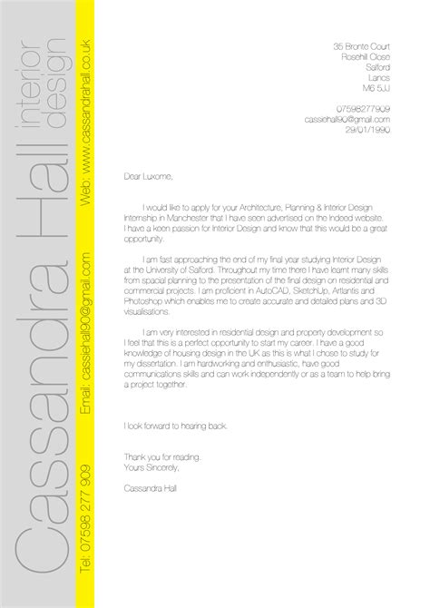 cover letter examples  interior designers