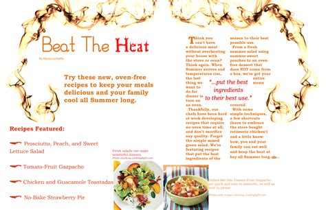 magazine layout assignment magazine layout assignment two page spread of cooking