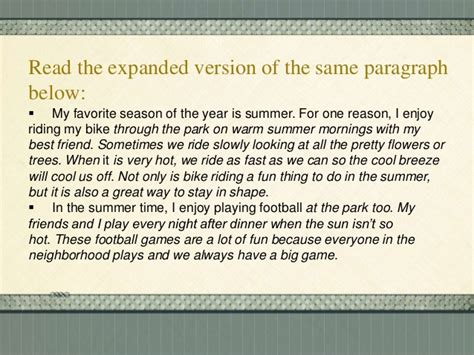 My Favorite Season Essay by Methods Of Paragraph Development