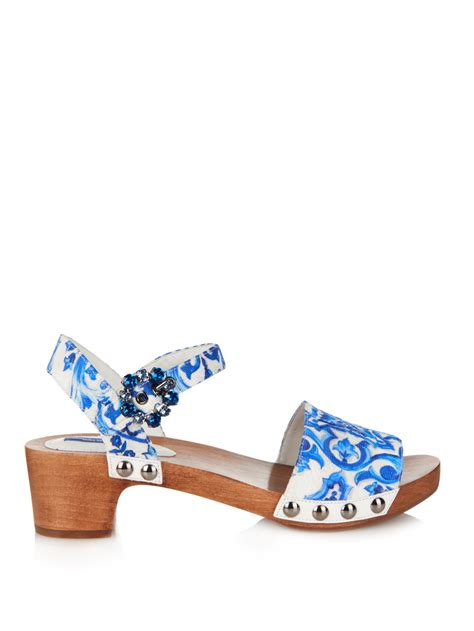 white and blue sandals dolce gabbana majolica print brocade sandals in blue lyst