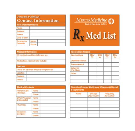 free medication list template medication card template 13 free printable sle