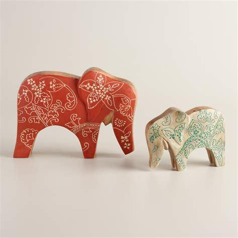 World Market Elephant L by Painted Wood Elephant Figure World Market