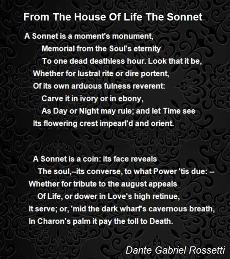 house of life from the house of life the sonnet poem by dante gabriel rossetti poem hunter