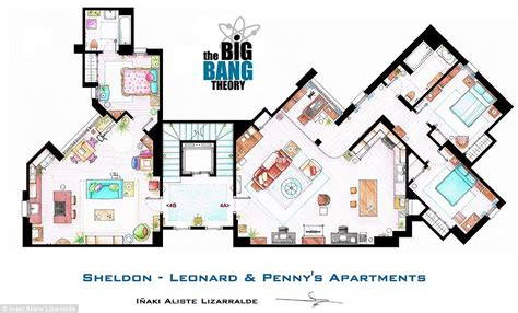 Layout Of Big Bang Theory Apartment | various show apartment blueprints friends fraiser bbt