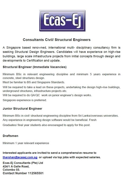 design engineer jobs abroad structural engineer junior structural engineer job