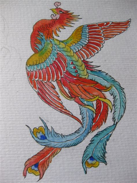 traditional phoenix tattoo design by colouredpolo on deviantart