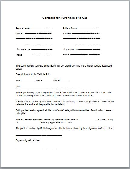 Sle Agreement Letter For Buying A Car Car Sales Agreement Form Images Frompo