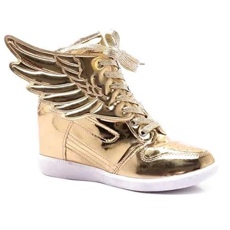 wing athletic shoes wing tie up metallic color athletic shoes golden in