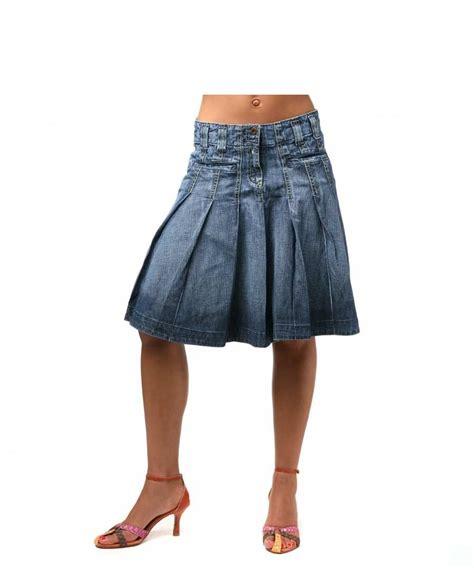 cooper cooper denim knee length pleat skirt