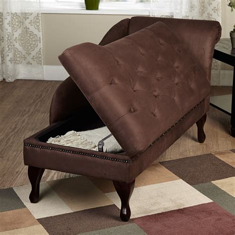 Indoor Chaise Lounge With Storage Tms Chaise Lounge Fainting Chair Indoor Storage Upholstery Tufted Brown What S It Worth