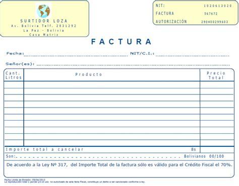 formato de factura de compra venta rnd 10 0040 12 bolivia impuestos blog