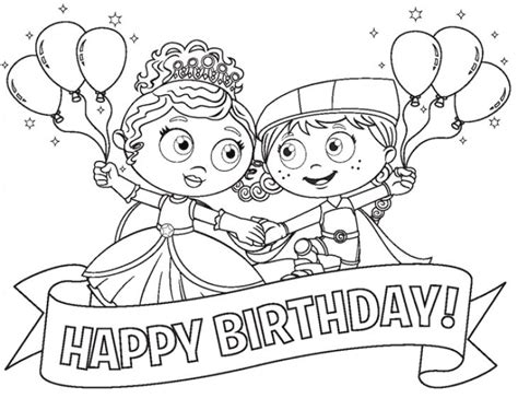 princess coloring pages birthday princess pea and red in super why happy birthday coloring