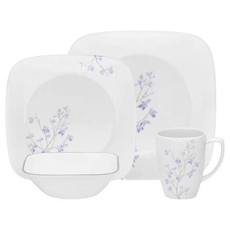 corelle squared pattern dinnerware corelle square jacaranda 16 piece vitrelle dinnerware set