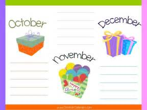 Birthday List Template By Month Free Printable Birthday Calendar Template