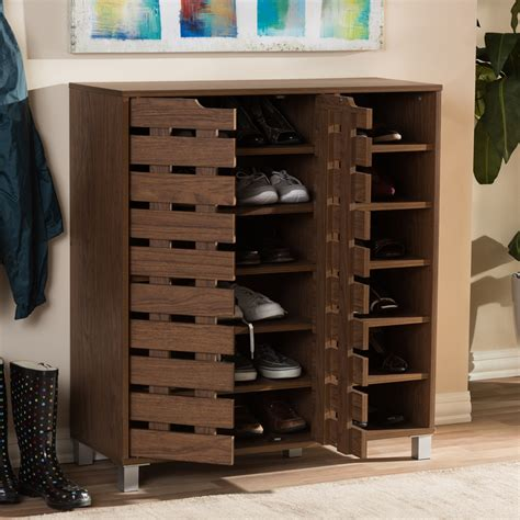 baxton studio shirley 24 pair shoe storage cabinet baxton studio shirley modern and contemporary quot walnut