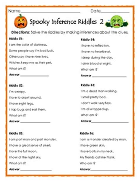 printable riddle quiz spooky inference riddles 2 halloween printable for ela tpt