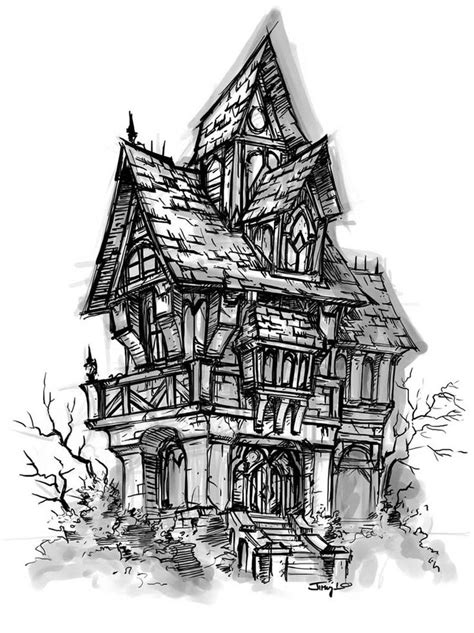 how to draw a haunted house world of warcraft cataclysm house sketch game art gallery pinterest student