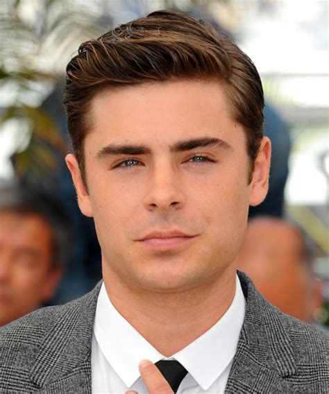 mens 59 s style hair coming back zac efron short straight formal hairstyle medium brunette