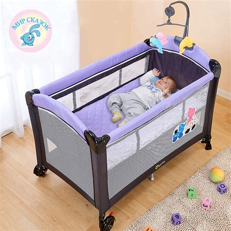 2 In 1 Crib Mattress Multifunctional Folding Crib Child Bed Continental Portable Playpen With Mosquito Nets Baby