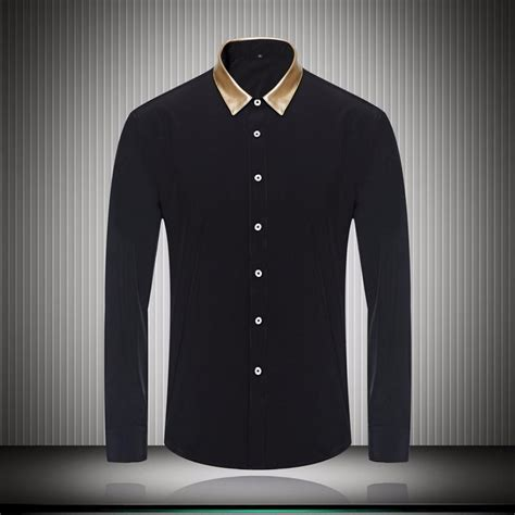 Atasan Murah Casual Coloured Shirt A0207 gold color collar black white mens dress shirts for business sleeve slim fit 2018 fashion