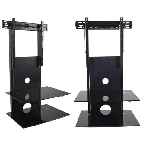 2 tier wall component glass shelves with tv wall mount for