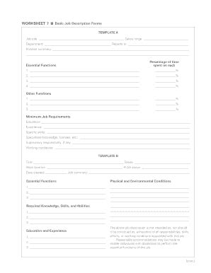 Job Description Template Forms Fillable Printable Sles For Pdf Word Pdffiller Free Printable Description Template