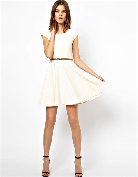a wear textured skater dress with belt in lyst