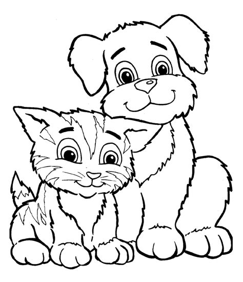 printable coloring pages kittens and puppies cute puppy and kitten drawings coloring pages gianfreda net