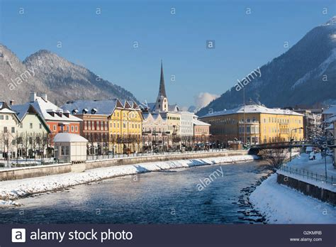 Austria, Bad Ischl, Spa Town, Traun river in winter Stock