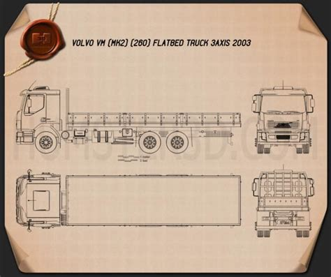 Blueprint Photo Paper 260 volvo vm flatbed truck 2003 blueprint hum3d