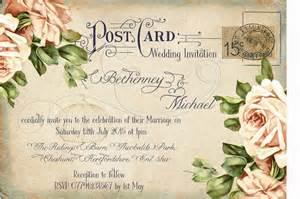 personalised vintage postcard birdcage wedding invitations packsof10 ebay