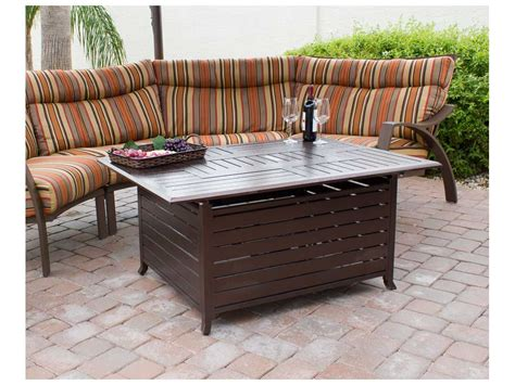 Az Patio Heaters Rectangular Slatted Aluminum Firepit Az Patio Heaters