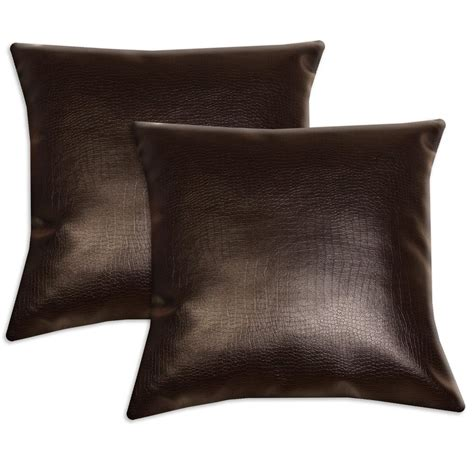leather accent pillows for sofa dark brown faux leather accent pillows set of 2 13340875