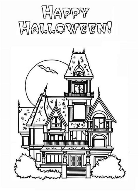 coloring pages halloween haunted house happy halloween in haunted house coloring page happy