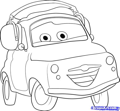 cars characters coloring pages how to draw luigi from cars step by step disney