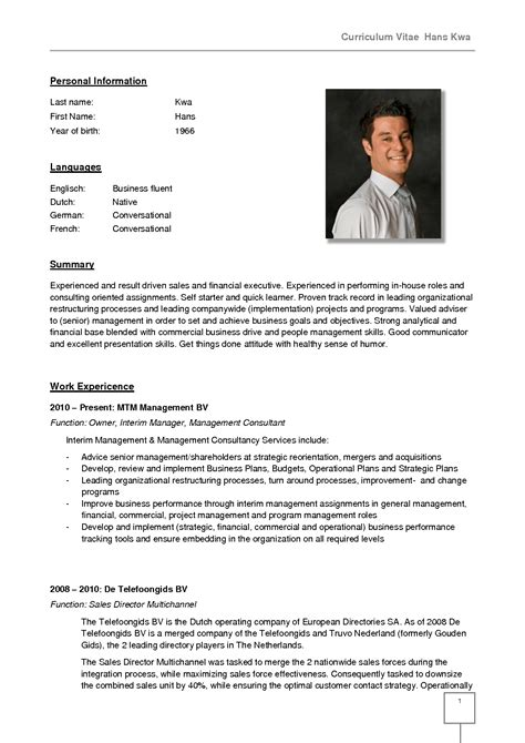 Sle Resume In German Language German Cv Template Doc Calendar Doc